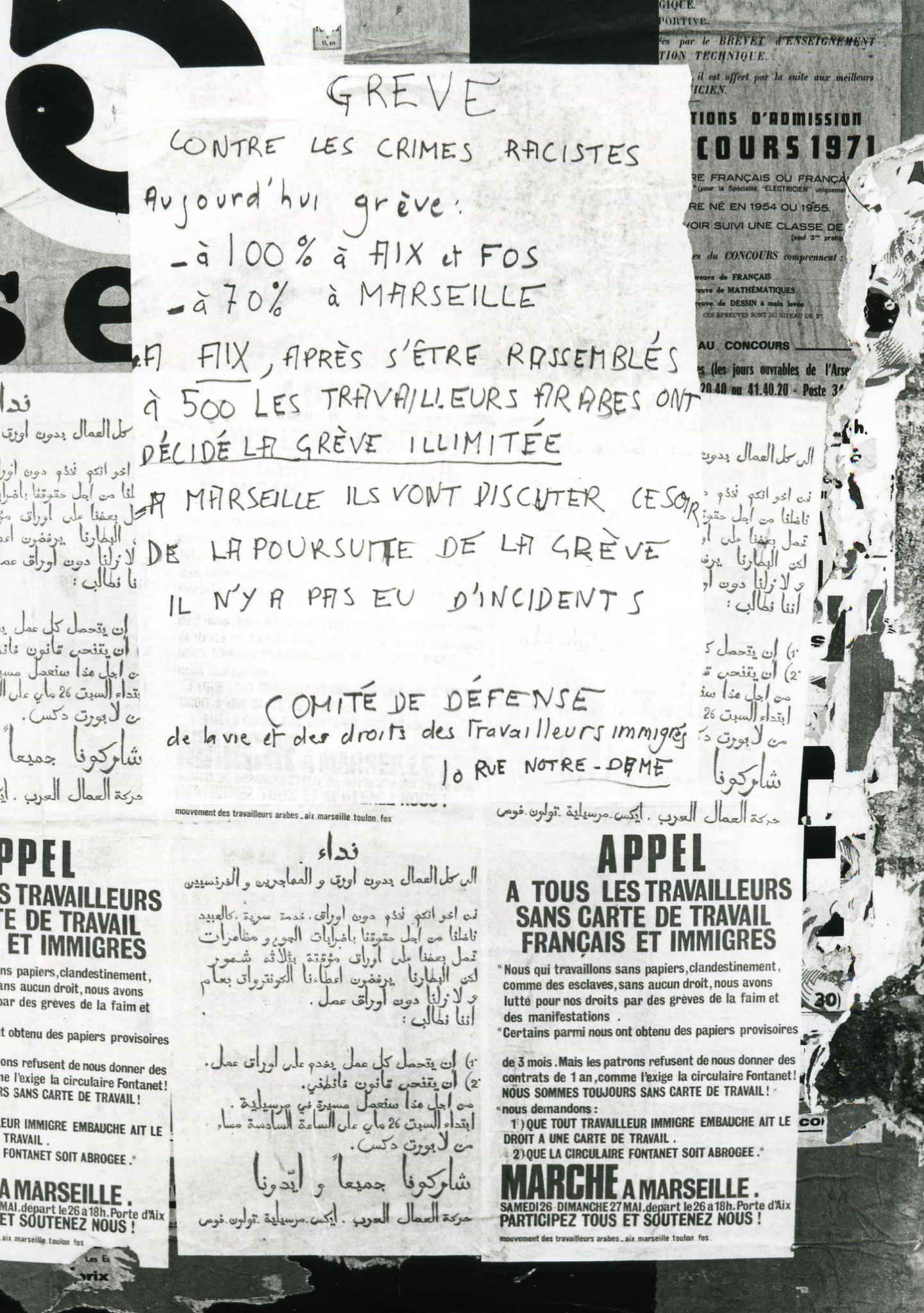 Affiches du Mouvement des travailleurs arabes, septembre 1973.